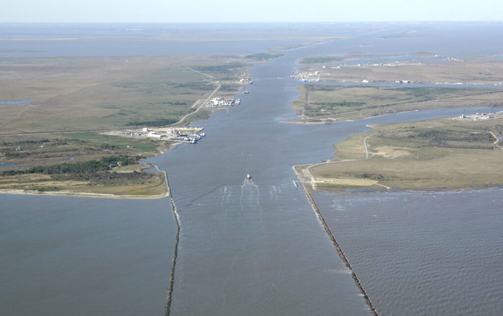 Arial photo of Calcasieu Pass, at the mouth of the Calcasieu River in Southern Louisiana